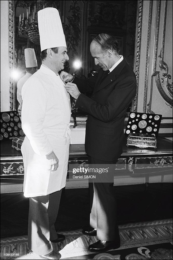 Paul Bocuse is awarded the Legion of Honour by President Valery Giscard d'Estaing at the Elysee Palace on February 25, 1975 in Paris,France.