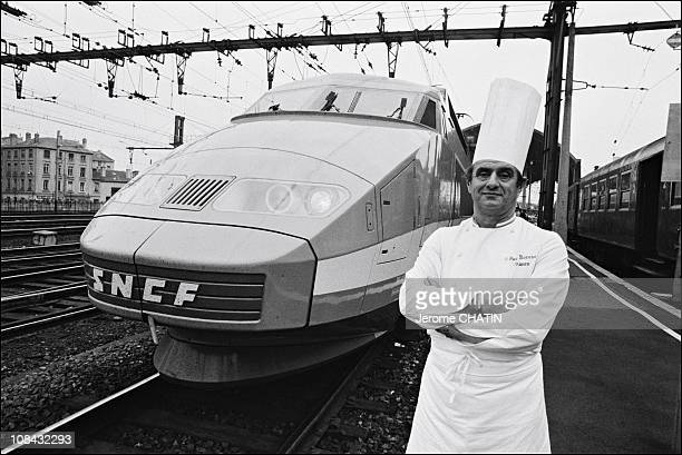 Paul Bocuse poses with a TGV train during November 1981 in LyonParis