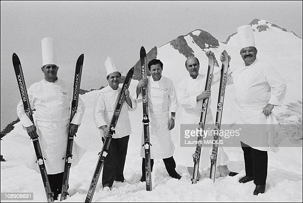 Paul Bocuse with Pierre Troisgros Alain Chapel Georges Blanc and Jacques Pic on July 28 1983 in L'Alpe d'HuezFrance