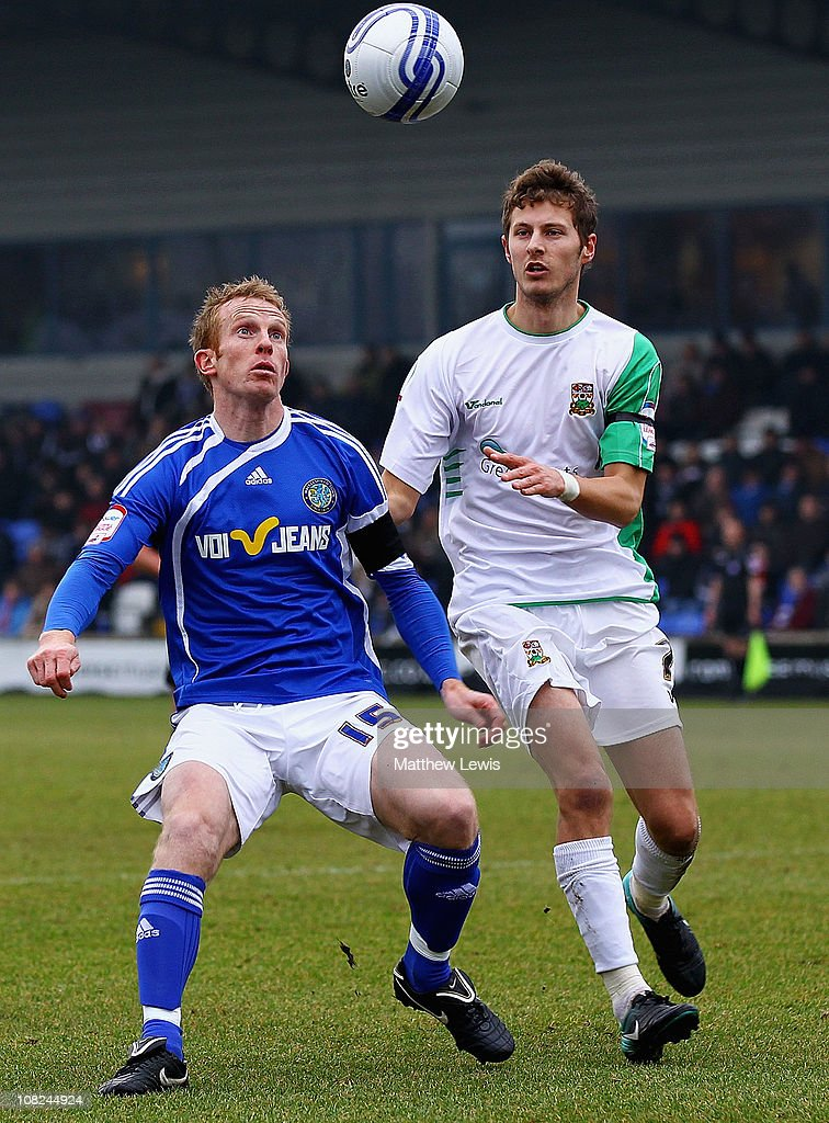 Paul Bolland of Macclesfield and Rossi Jarvis of Barnet challenge for the ball during the npower League Two match between Macclesfield Town and Barnet at the Moss Rose Stadium on January 22, 2011 in Macclesfield, England.