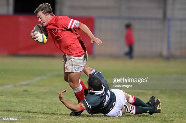 Paul Bosch tackles Poerie van Rooyen during the Absa Currie Cup Promotion and Relegation match between Valke and Platinum Leopards held at Bosman...