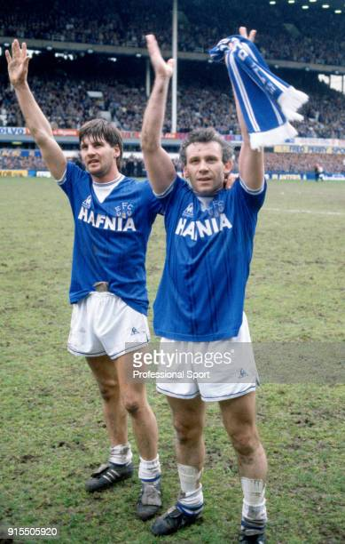 Paul Bracewell and Peter Reid of Everton celebrate after the Canon League Division One match between Everton and Queens Park Rangers at Goodison Park...