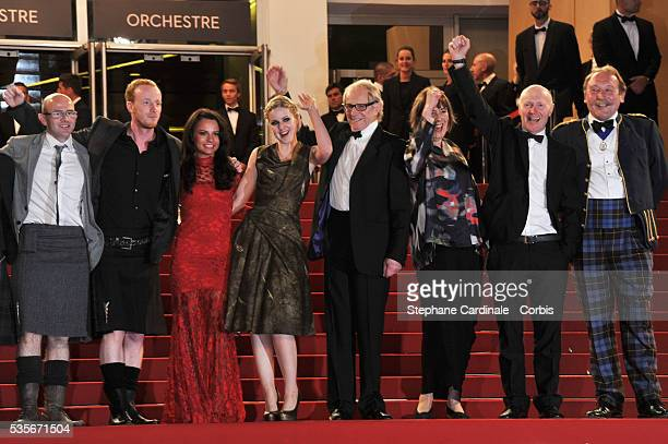 Paul Brannigan Gary Maitland Paul Laverty Jasmin Riggins Siobhan Reilly Ken Loach guests and Charlie Maclean at the premiere for The Angel's share...