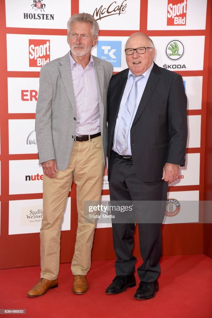 Paul Breitner and Uwe Seeler attend the Sport Bild Award on August 21, 2017 in Hamburg, Germany.