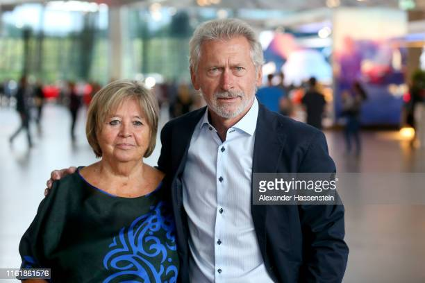 Paul Breitner arrives with his wife Hildegard Breitner for the Bavarian Sport Award 2019 at BMW World on July 13 2019 in Munich Germany