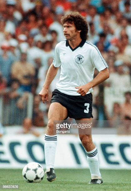 Paul Breitner of Germany in action during the World Cup final match between Germany and Italy at the Santiago Bernabeu Stadium on July 11 1982 in...
