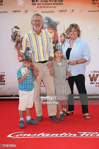 Paul Breitner With Wife Hildegard and grandchildren Louis And Leah at The Premiere Of Vicky And The Strong Men In Mathäser cinema in Munich