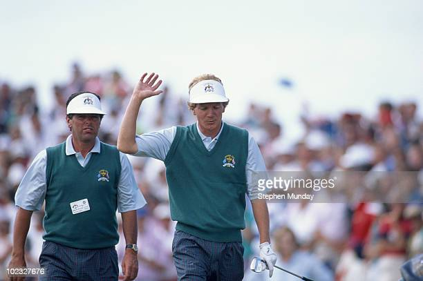 Paul Broadhurst acknowledges the crowd with Bernard Gallacher of Europe during the 29th Ryder Cup Matches on 27 September 1991 at The Ocean Course at...
