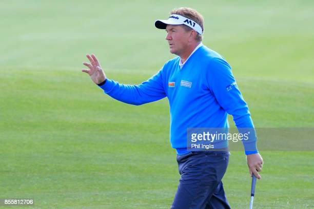 Paul Broadhurst acknowledges the crowds applause during the final round of the Paris Legends Championship played at Le Golf National on September 30...