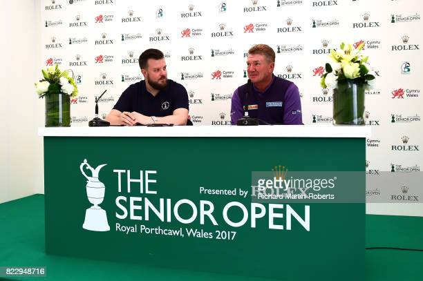 Paul Broadhurst of England answers questions from the media at a press conference during a practice round prior to the Senior Open Championship at...