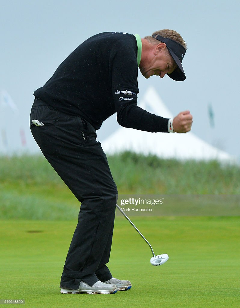 Paul Broadhurst of England celebrates after holing his final putt on 18 to win The Senior Open Championship at Carnoustie Golf Club on July 24, 2016 in Carnoustie, Scotland.
