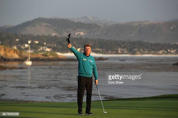 Paul Broadhurst of England celebrates after making a birdie putt on the 18th hole to win the Nature Valley First Tee Open at Pebble Beach Golf Links...