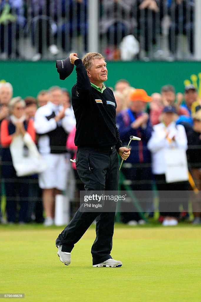 Paul Broadhurst of England holes the winning putt on the 18th green during the final round of the Senior Open Championship played at Carnoustie on July 24, 2016 in Carnoustie, United Kingdom.