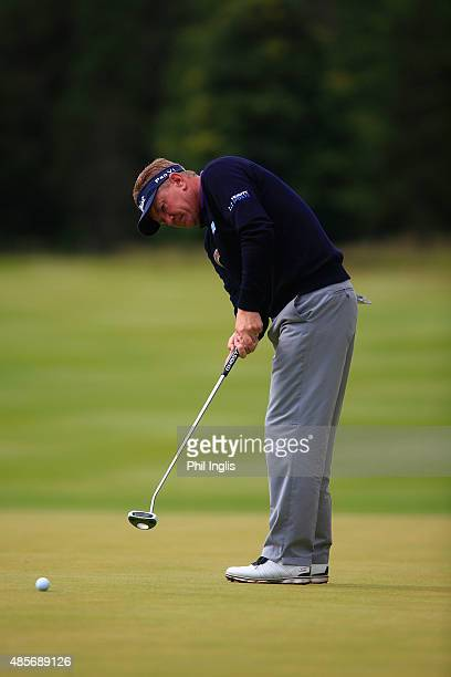 Paul Broadhurst of England in action during the final round of the Prostate Cancer UK Scottish Senior Open played at the Fidra Course Archerfield...