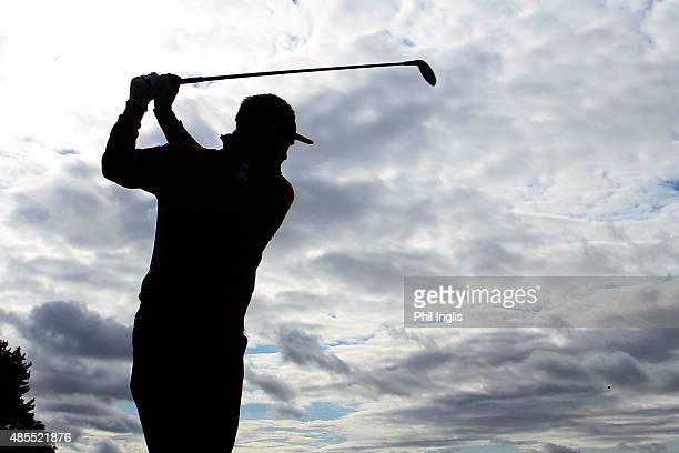 Paul Broadhurst of England in action during the second round of the Prostate Cancer UK Scottish Senior Open played on the Fidra Course Archerfield...