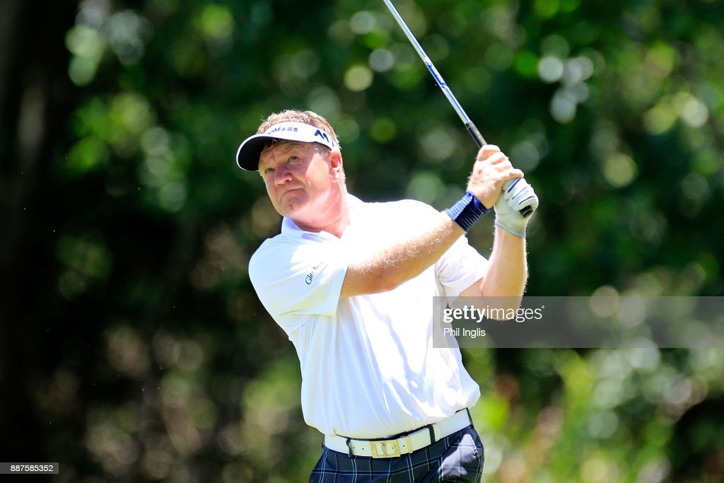 Paul Broadhurst of England plays a shot on the 14th hole during the ProAm ahead of the first round of the MCB Tour Championship played over the Legend Course at Constance Belle Mare Plage on December 7, 2017 in Port Louis, Mauritius.
