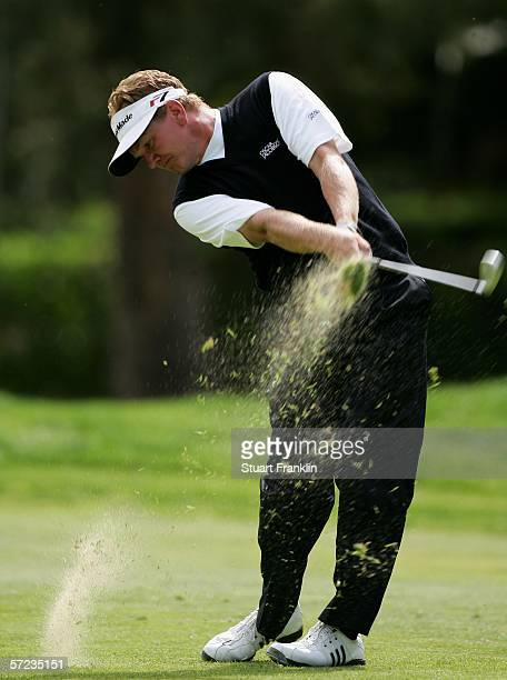 Paul Broadhurst of England plays his approach shot on the 12th hole during the final round of The Algarve Open de Portugal on April 2 2006 at Le...