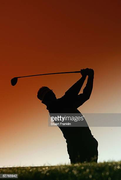 Paul Broadhurst of England plays his tee shot on the 13th hole during the completion of the first round of The Telecom Italian Open Golf at The...