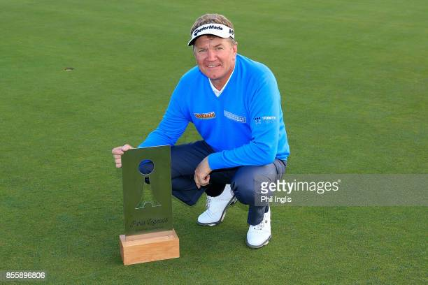 Paul Broadhurst of England poses with the trophy after the final round of the Paris Legends Championship played at Le Golf National on September 30...