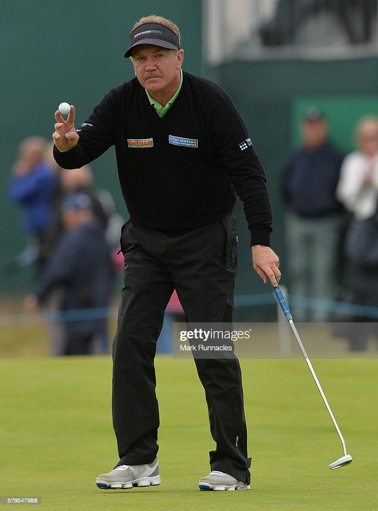 Paul Broadhurst of England reacts after sinking a putt on 16 during the final day of The Senior Open Championship at Carnoustie Golf Club on July 24, 2016 in Carnoustie, Scotland.