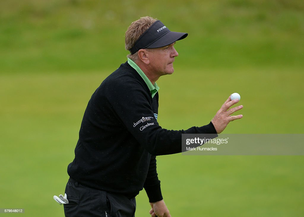 Paul Broadhurst of England reacts after sinking a putt on 17 during the final day of The Senior Open Championship at Carnoustie Golf Club on July 24, 2016 in Carnoustie, Scotland.