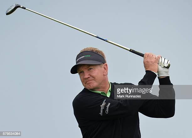 Paul Broadhurst of England tee shot to the 3rd during the final day of The Senior Open Championship at Carnoustie Golf Club on July 24 2016 in...