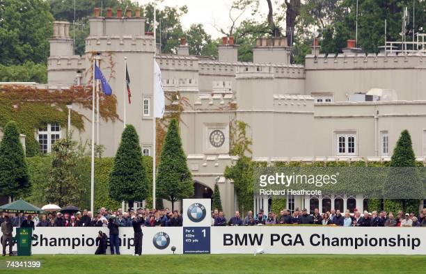 Paul Broadhurst of England tees off on the 1st hole during the Final Round of the BMW PGA Championship at The Wentworth Club on May 27 2007 in...