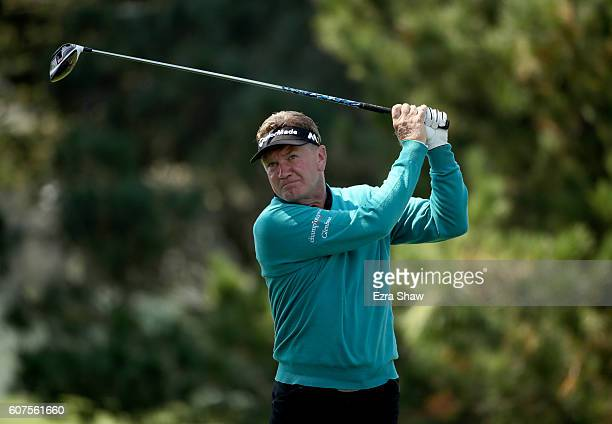 Paul Broadhurst of England tees off on the second hole during the Final Round of the Nature Valley First Tee Open at Pebble Beach Golf Links on...