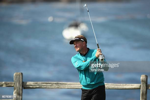 Paul Broadhurst of England tees off on the seventh hole during the Nature Valley First Tee Open at Pebble Beach Golf Links on September 18 2016 in...