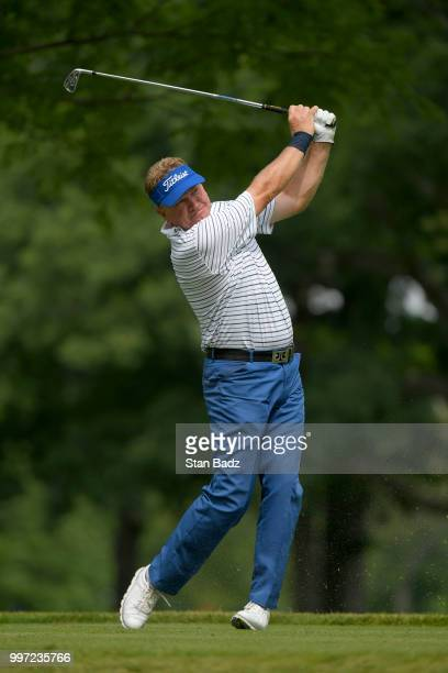 Paul Broadhurst plays a tee shot on the eighth hole during the first round of the PGA TOUR Champions Constellation SENIOR PLAYERS Championship at...