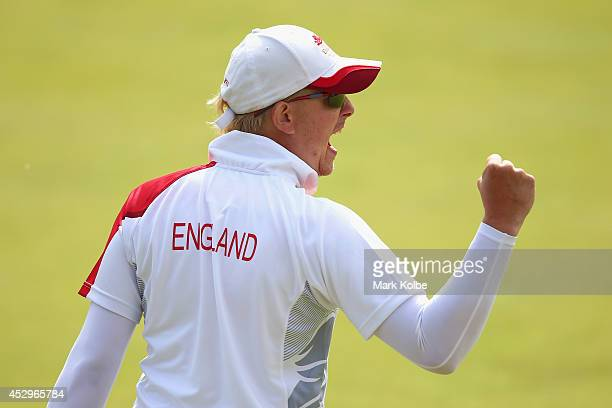 Paul Brown of England celebrates vioctory in the bronze medal Para-Sport Open Triples B6/B7/B8 lawn bowls match between England and Scotland at...