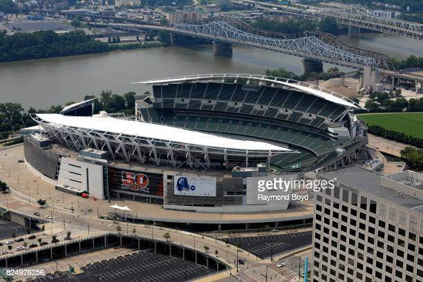 Paul Brown Stadium home of the Cincinnati Bengals football team as photographed from the Carew Tower observatory deck in Cincinnati Ohio on July 22...