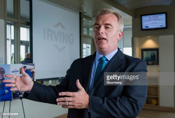 Paul Browning former chief executive officer of Irving Oil Ltd speaks during a tour of the company's refinery in Saint John New Brunswick Canada on...
