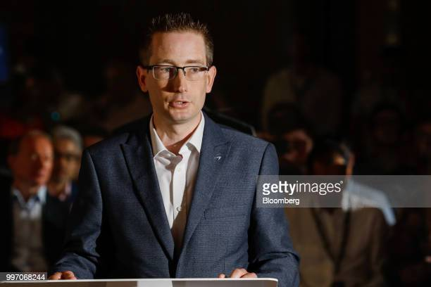 Paul Buddin chief financial officer of McLaren Automotive Ltd speaks during a news conference at the Goodwood Festival of Speed near Chichester UK on...