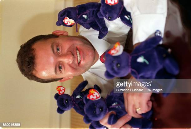 Paul Burrell former butler to Diana Princess of Wales holds small purple Bean Bag teddies manufactured in the USA by TY inc Toys which have raised...