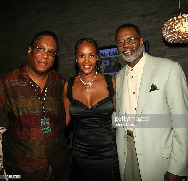Paul Busby Vivica Fox and Eugene Morris during ABFF and Walmart VIP Reception July 22 2006 at Santo Restaurant in Miami Florida United States