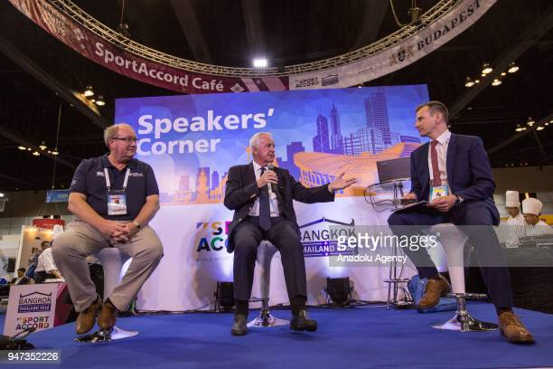 Paul Bush OBE and Sir Craig Reedie CBE are seen speaking about 'Host City 2018' during the third day of Sport Accord 2018 at the Centara Grand...
