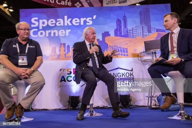Paul Bush OBE and Sir Craig Reedie CBE seen speaking about 'Host City 2018' during the third day of Sport Accord 2018 at the Centara Grand Bangkok...
