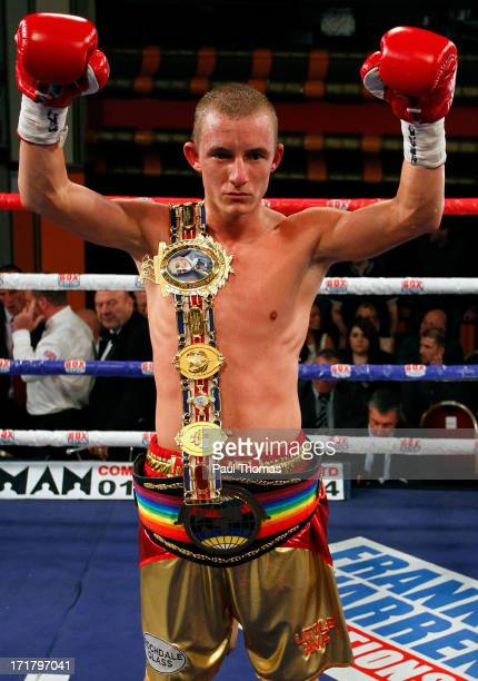 Paul Butler celebrates after winning the Commonwealth SuperFlyweight championship fight at Liverpool Olympia on June 28 2013 in Liverpool England