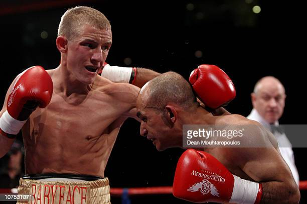 Paul Butler of Ellesmere Port battles with Anwar Alfadi of Sheffield in their SuperFlyweight bout during the Frank Warren 30 Years anniversary show...