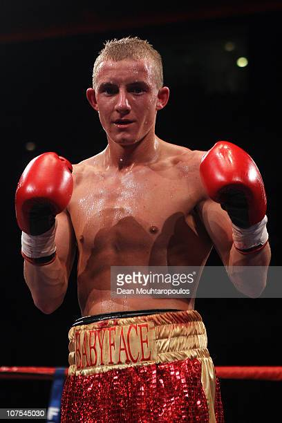Paul Butler of Ellesmere Port celebrates his win over Anwar Alfadi of Sheffield in their SuperFlyweight bout during the Frank Warren 30 Years...