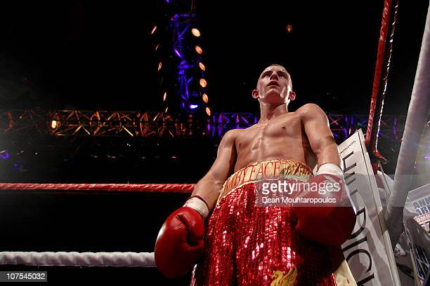 Paul Butler of Ellesmere Port stands in the corner in his fight with Anwar Alfadi of Sheffield in their SuperFlyweight bout during the Frank Warren...