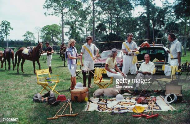 Paul Butler patriarch of one of America's foremost polo families with his son daughter grandchildren and soninlaw Palm Beach April 1981 Left to right...