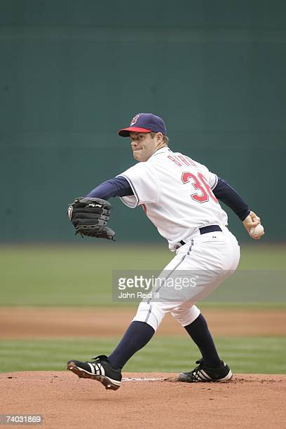 Paul Byrd of the Cleveland Indians warms up during the game against the Texas Rangers at Jacobs Field in Cleveland Ohio on April 26 2007 The Indians...