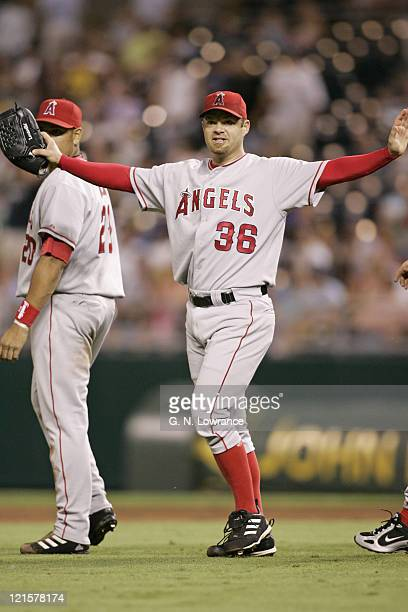 Paul Byrd of the Los Angeles Angels of Anaheim does the bird after throwing a complete game 2hit shutout against the Kansas City Royals at Kauffman...