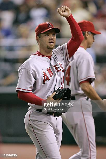 Paul Byrd of the Los Angeles Angels of Anaheim waves to fans after throwing a complete game 2hit shutout against the Kansas City Royals at Kauffman...