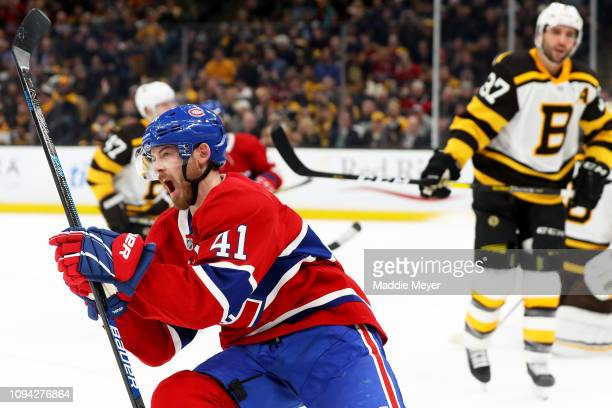 Paul Byron of the Montreal Canadiens celebrates after scoring a goal against the Boston Bruins during the second period at TD Garden on January 14,...