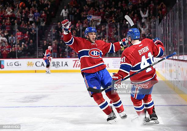 Paul Byron of the Montreal Canadiens celebrates after scoring a goal against the Winnipeg Jets in the NHL game at the Bell Centre on November 1 2015...