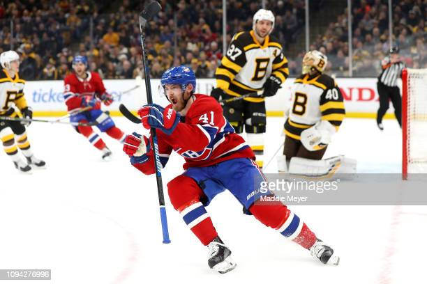 Paul Byron of the Montreal Canadiens celebrates after scoring against the Boston Bruins during the second period at TD Garden on January 14 2019 in...