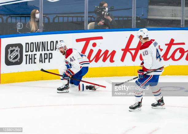 Paul Byron of the Montreal Canadiens celebrates his goal against the Toronto Maple Leafs with teammate Joel Armia during the third period in Game One...